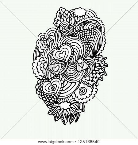 Monochrome Zentangle Doodle with hearts. Stock vector illustration