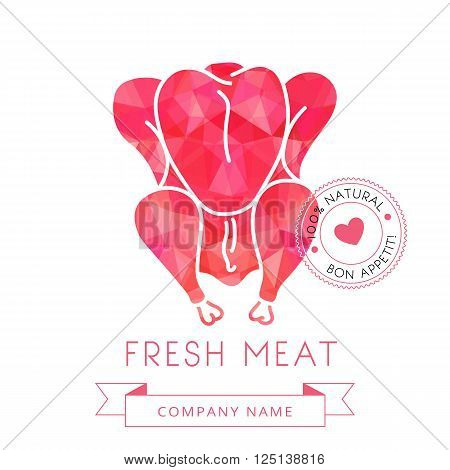 Image carcass chicken or turkey meat of poultry for design menus, recipes and packages product. Vector illustration.
