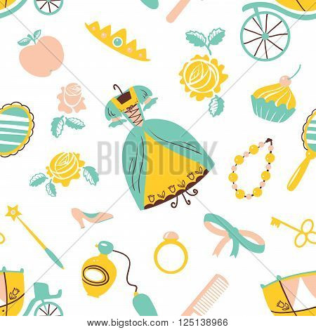 Cute beauty Princess accessory vector seamless pattern