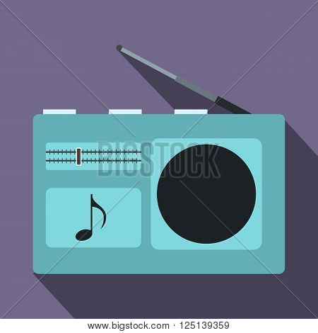 Radio icon in flat style on a violet background
