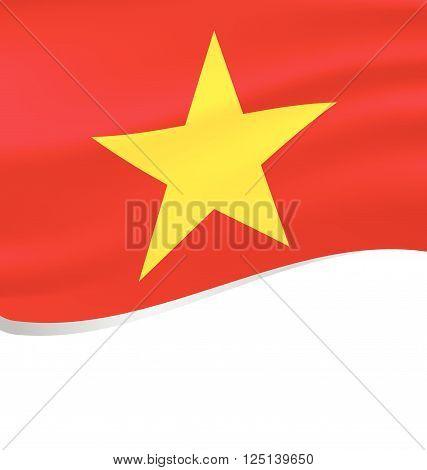 Vector Flying Flag of Vietnam in white background