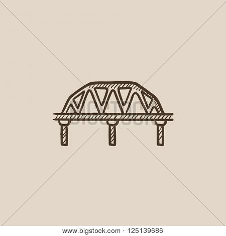 Rail way bridge sketch icon.