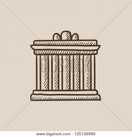 Acropolis of Athens sketch icon.