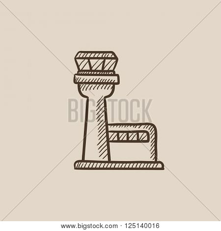 Flight control tower sketch icon.