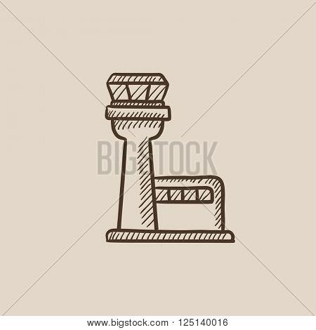 Flight control tower sketch icon.
