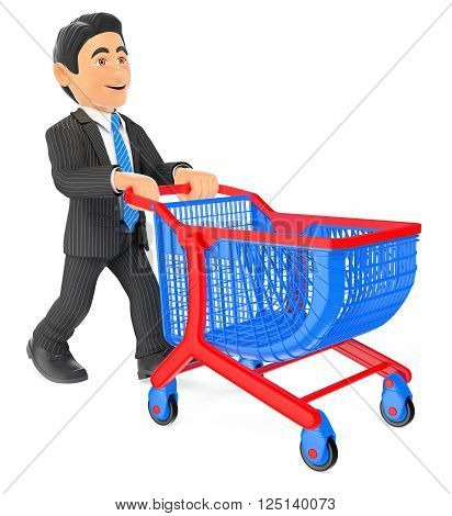 3d business people. Businessman pushing a shopping cart. Isolated white background.