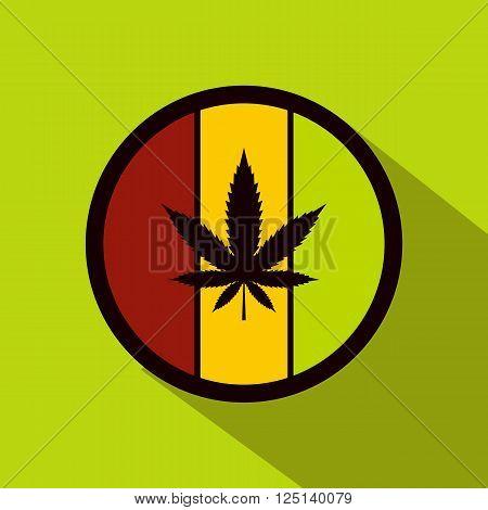Hemp leaf on round rasta flag icon in flat style on green background