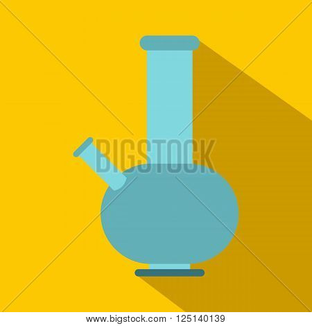 Bong for smoking icon in flat style on yellow background
