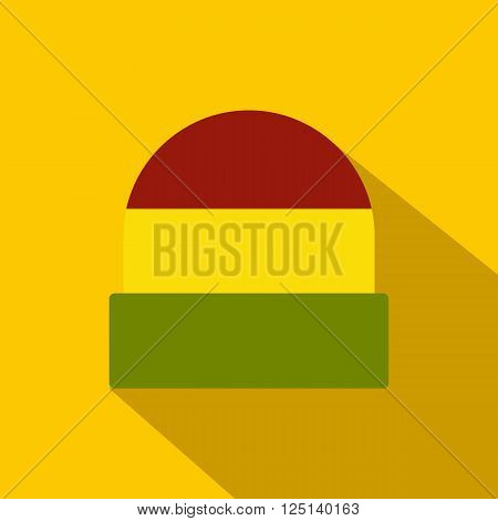 Tricolor rasta cap icon in flat style on yellow background. Jamaican hat
