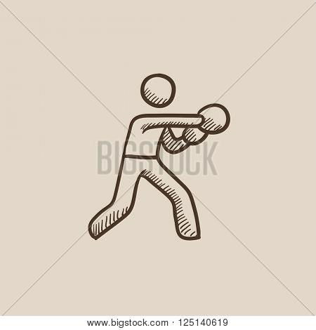 Male boxer sketch icon.