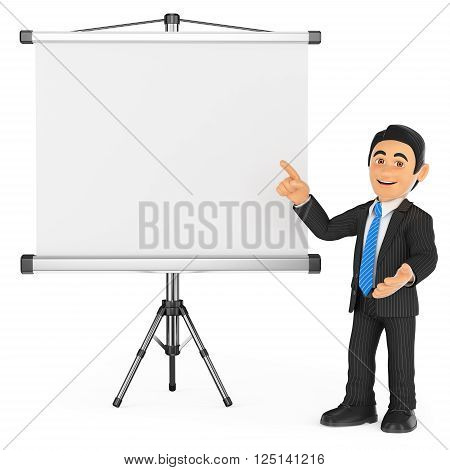 3d business people. Businessman with a blank projector screen. Isolated white background.