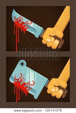 Bloody blades illustrations. Vector illustration.