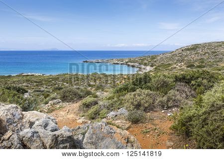 Panoramic view of the sea coast with turquoise water. East coast of Crete island Greece.