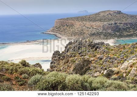 Balos Bay At Crete Island In Greece. Area Of Gramvousa.