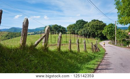 Camino de Santiago. Pilgrim road in Spain