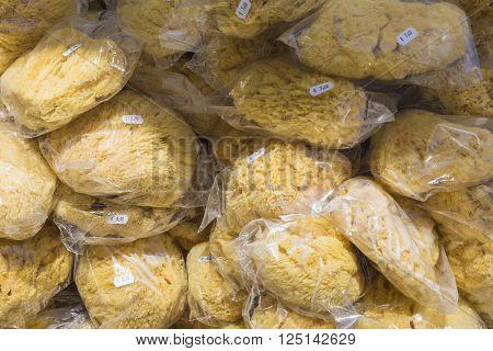 A closeup of a natural sponges on market