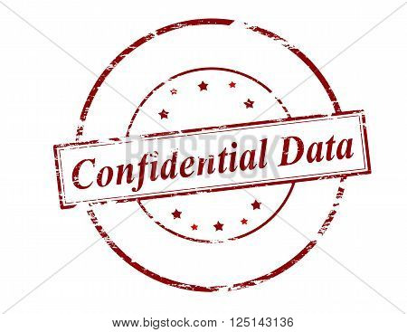 Rubber stamp with text confidential data inside vector illustration