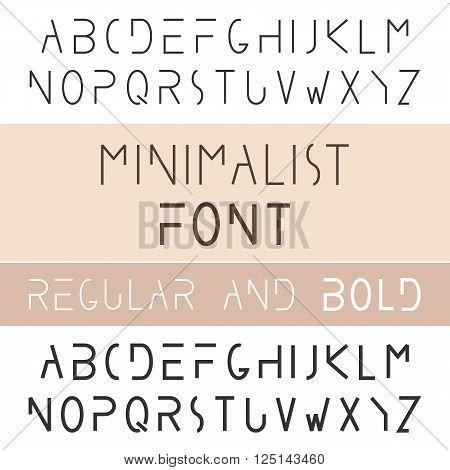 Minimalist Font Bold And Regular. Minimalism Style Sans Serif Typeface Set. Trendy Mono Line Latin Alphabet. Uppercase. Vector