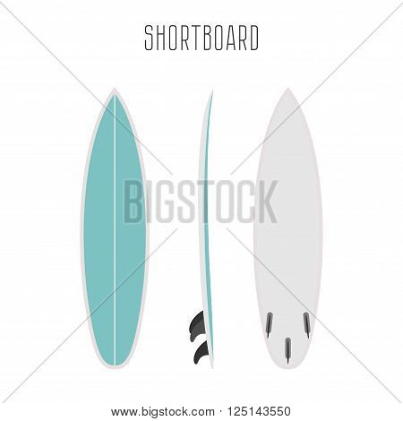 Vector surf short board with three sides. Blank template. Three projections