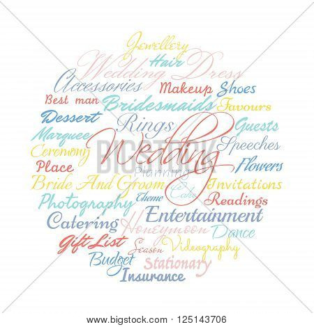 Wedding planning related words, Vector cloud illustration.