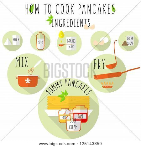 How to cook pancakes recipe, flat style with long shadow. stock vector illustration