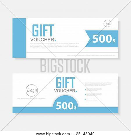 Blue voucher template with colorful pattern,cute gift voucher certificate coupon design template,Collection gift certificate business card banner calling card poster,Vector illustration