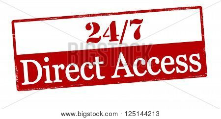 Rubber stamp with text twenty four seven direct access inside vector illustration