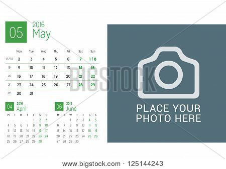 Calendar Template For May 2016. Week Starts Monday. Calendar Design Print Template. Vector Desk Cale
