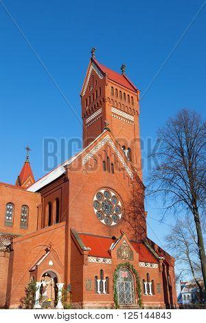 Belarussian Roman Catholic Church Of Saints Simon And Helen (Red Church) In Minsk Belarus
