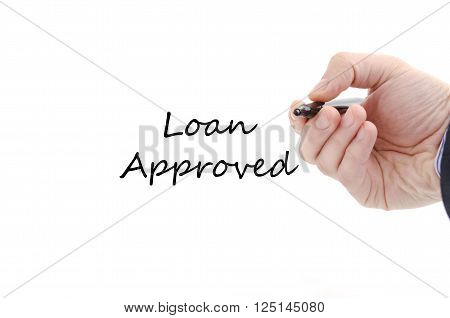 Loan approved text concept isolated over white background