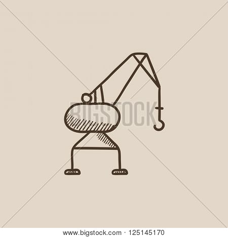 Harbor crane sketch icon.