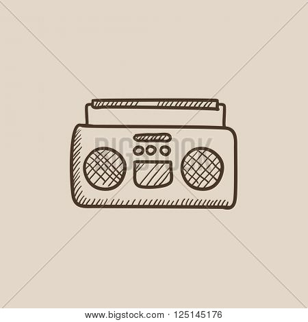 Radio cassette player sketch icon.