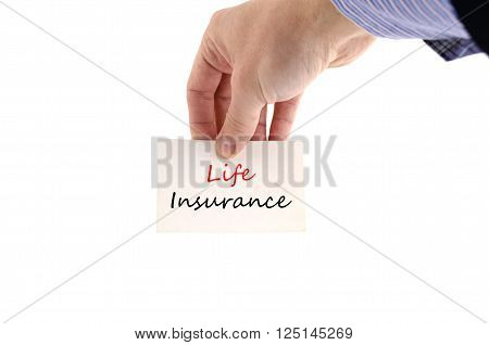 Life insurance text concept isolated over white background