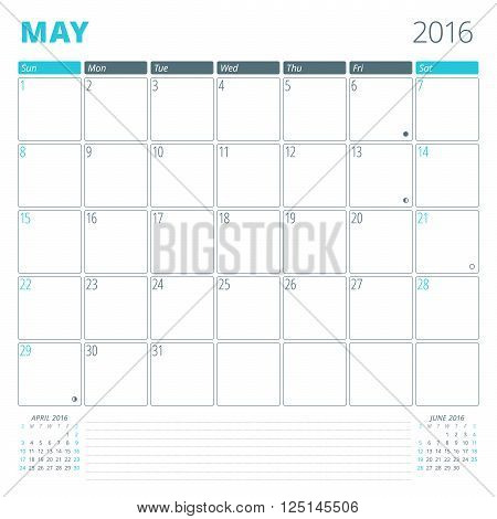 Calendar Template For May 2016. Week Starts Sunday. Planner Design Print Template. Vector Calendar.