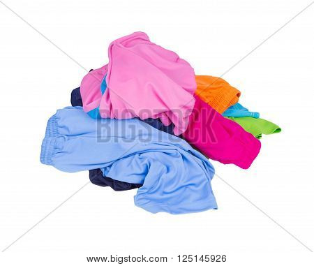 Pile Of Sport Shorts On A White
