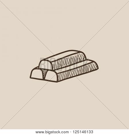 Golden bars sketch icon.