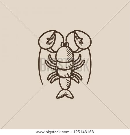 Lobster sketch icon.