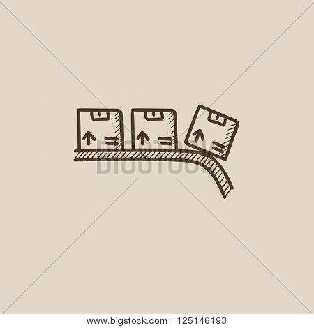 Conveyor belt for parcels sketch icon.