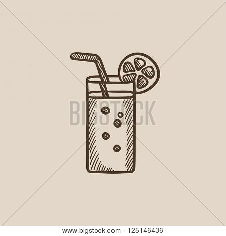Glass with drinking straw sketch icon.