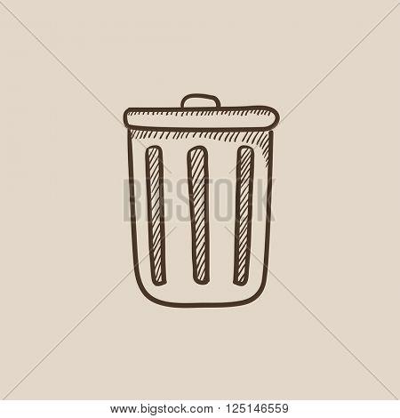 Trash can sketch icon.