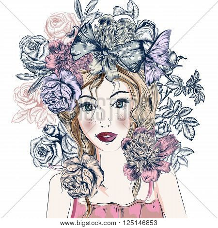 Fashion illustration with hand drawn pretty blue eyed girl and flowers trendy style