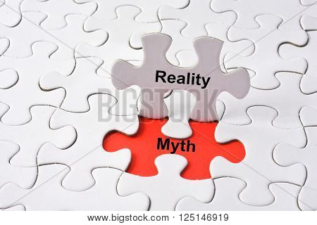 Reality and Myth on missing puzzle with red background