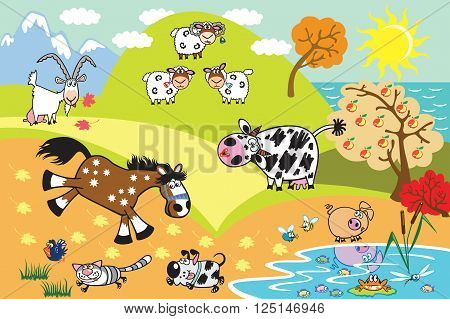 cartoon domestic animals:sheep,cow,goat,horse,pig, dog and cat in the countryside landscape. Children illustration