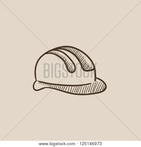 Hard hat sketch icon.