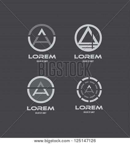 Vector company logo icon element template alphabet letter a set grey black white abstract