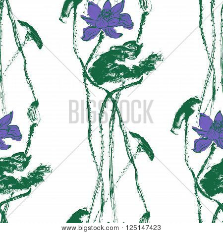 Seamless pattern with watercolor lotus flowers. Stock vector illustration.
