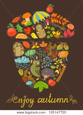 Enjoy autumn vector card with acorn shape