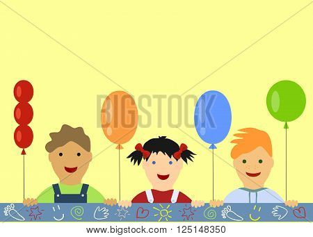 Children's Background With Peeking Boys And Girl