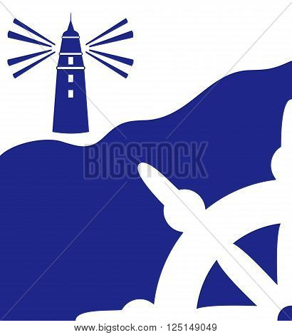 marine background with steering wheel and lighthouse in the blue color