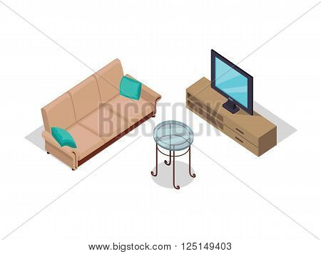 Sofa and TV on table isometric design. Furniture isometric interior sofa and tv, room living furniture, house furniture, 3d domestic furniture and detail model vector illustration